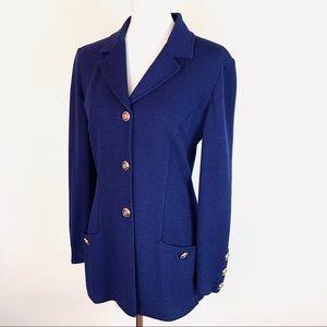 St. John Collection Blue Knit Blazer Jacket Size 6